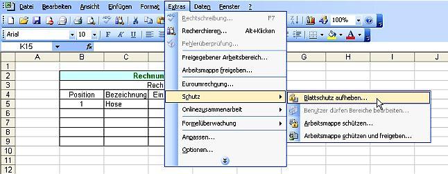 Excel Arbeitsblatt Blattschutz Aufheben : Excel formulare schützen online im s l z